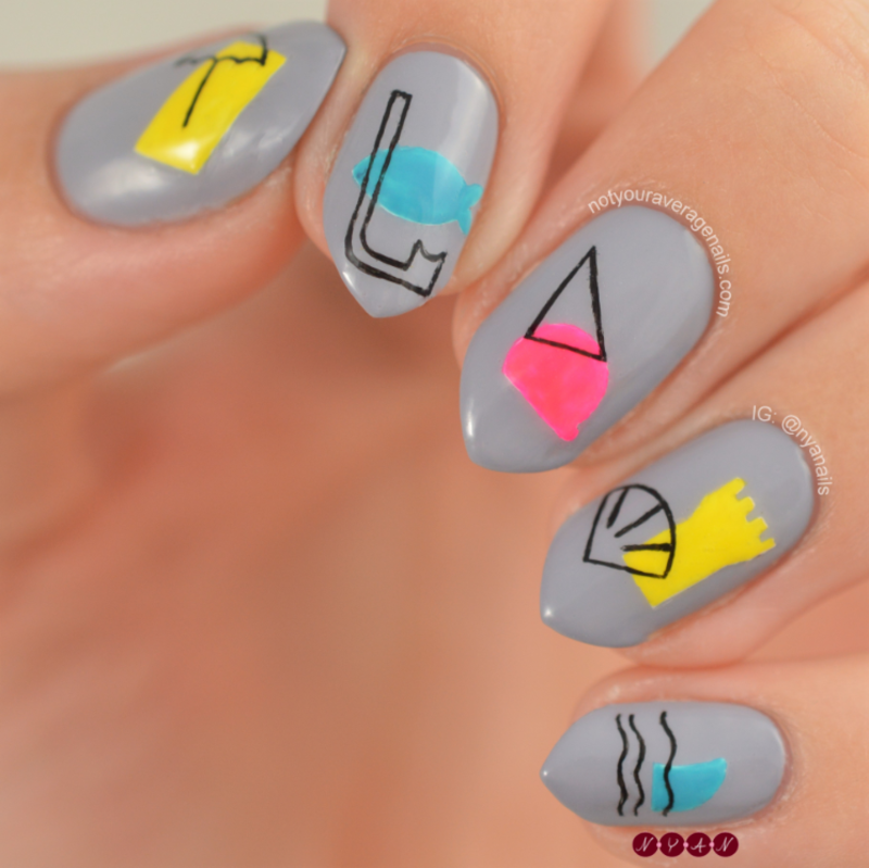 Vive Les Vacances nail art by Becca (nyanails)