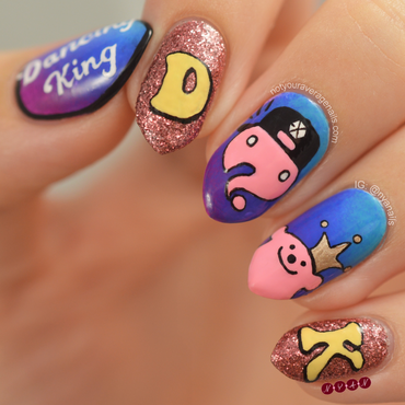 Dancing King nail art by Becca (nyanails)