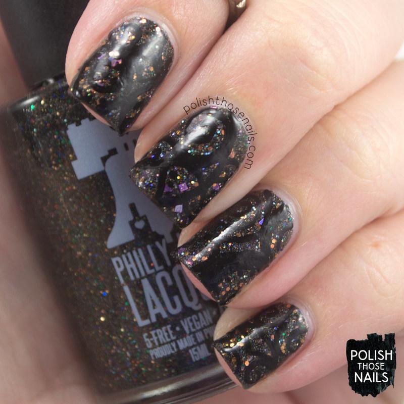 Black Glitter Swirls nail art by Marisa  Cavanaugh