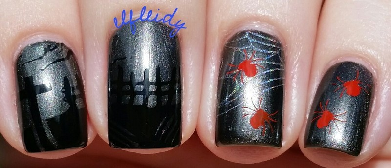 Graveyard and spiders nail art by Jenette Maitland-Tomblin