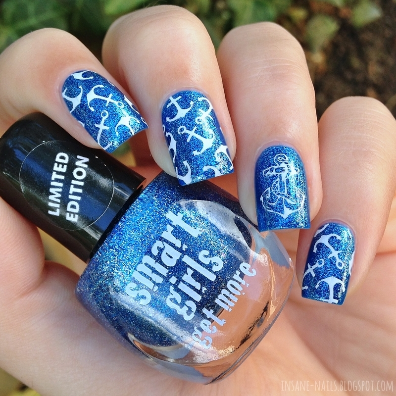 Nautical stamping nails with Nicole Diary ND006 nail art by Sanela
