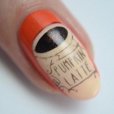 Pumpkin Spice Latte nail art by Furious Filer
