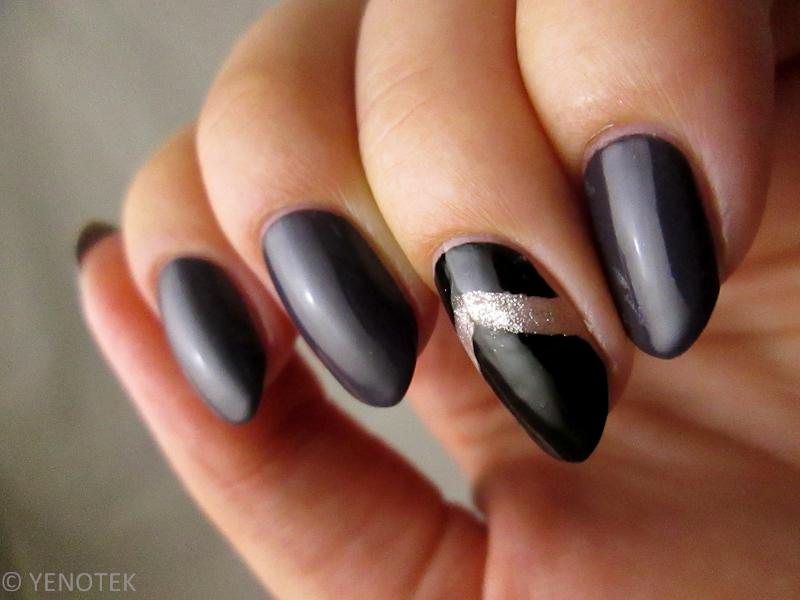 Gray, black and negative space nail art by Yenotek