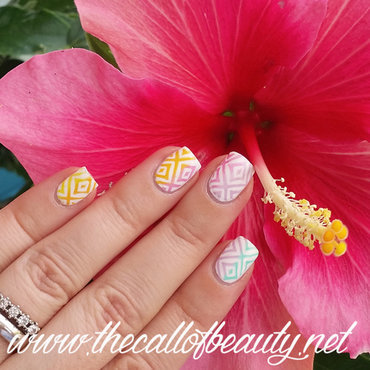 Rainbow Ikat nail art by The Call of Beauty