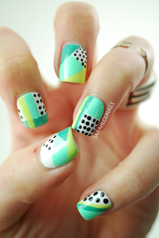 Geometric Minty Nails nail art by Sarah S