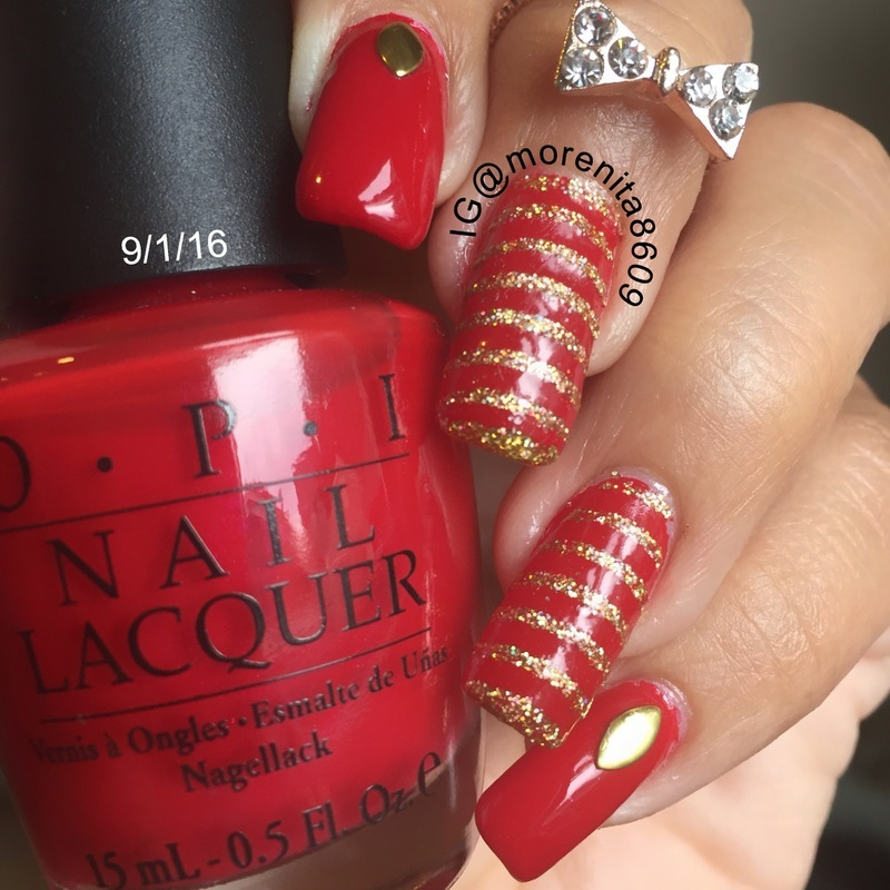 Red & Gold nail art by Morenita  Morena