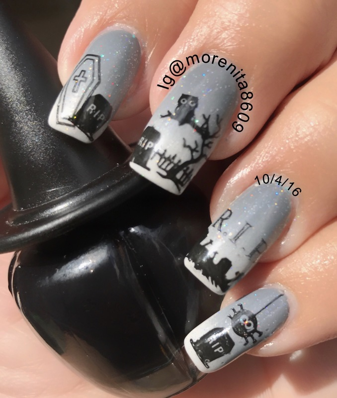 Graveyard Nails nail art by Morenita  Morena