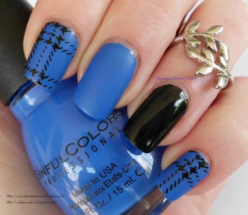 Endless Blue Plaid nail art by Angelique Adams