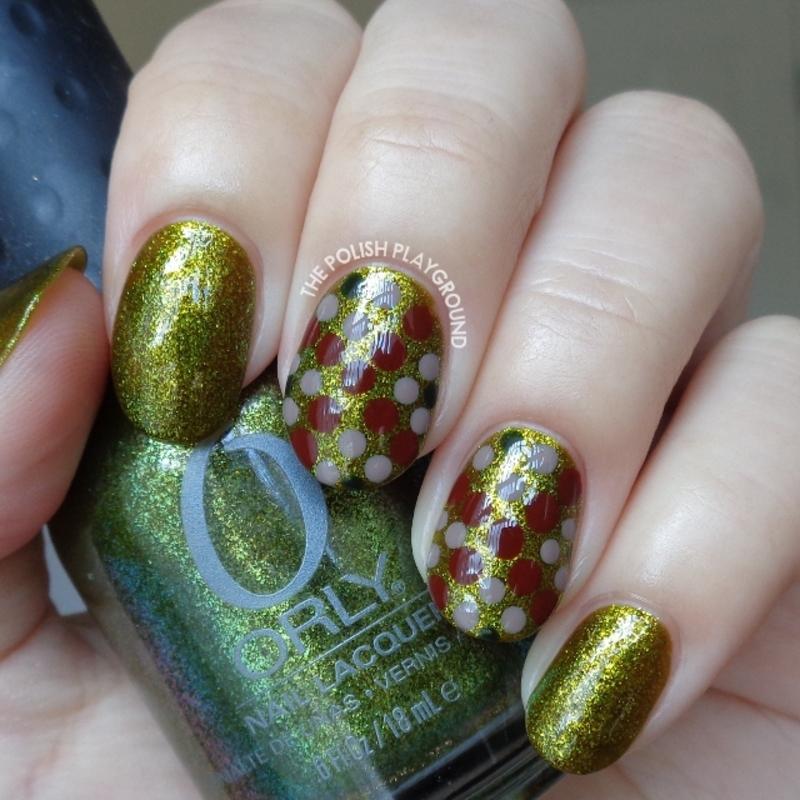 Green Shimmer Fleck with Dotting Design nail art by Lisa N