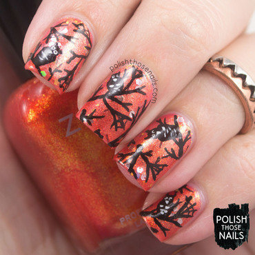 Orange glitter shimmer owl halloween nail art 4 thumb370f