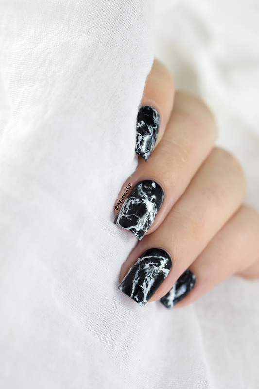 Black marble nail art by Marine Loves Polish