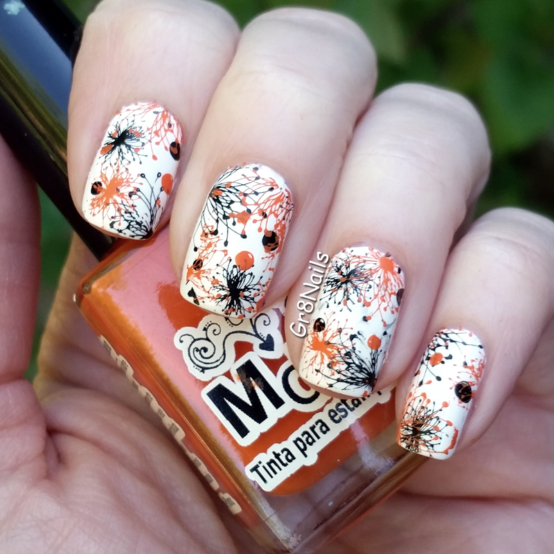 Orange and Black nail art by Gr8Nails