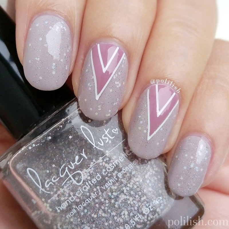 Taupe and pink geometric design nail art by polilish