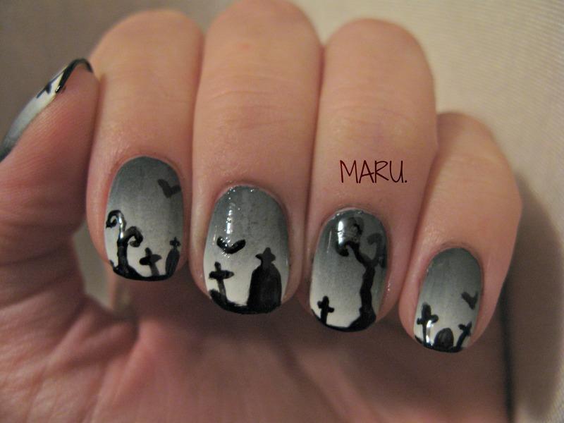 Graveyard nail art by Martina