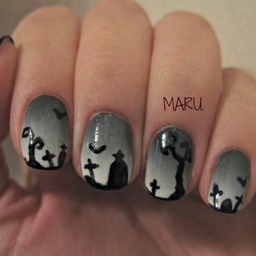 Graveyard nail art by Martina