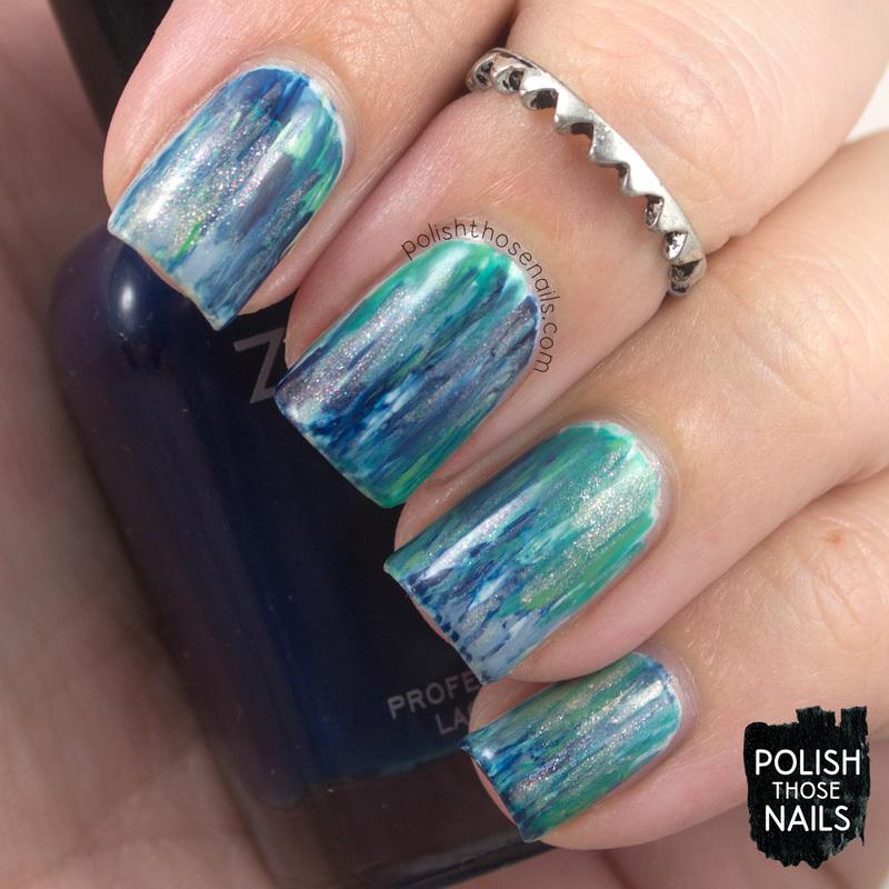 Abstract Blues nail art by Marisa  Cavanaugh