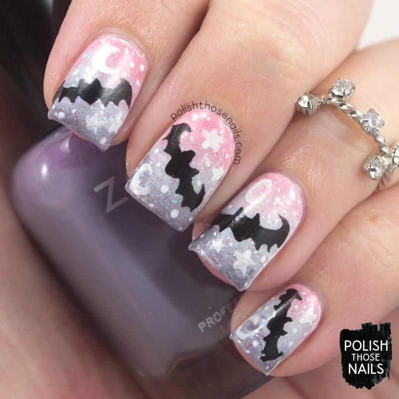 Pastel Goth Bats nail art by Marisa Cavanaugh - Pastel Goth Bats Nail Art By Marisa Cavanaugh - Nailpolis: Museum Of