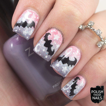 Pastel goth gradient bat halloween nail art 4 thumb370f