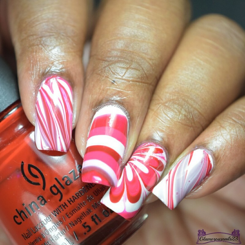 Watermarble Wednesdays: Red, Pink & White nail art by glamorousnails23