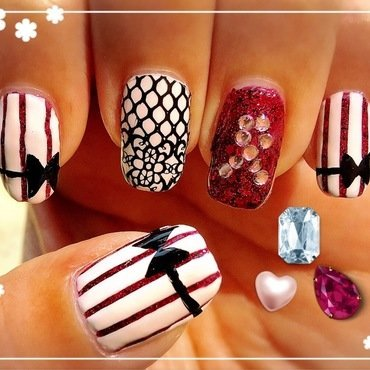pink ribbon nail art by Idreaminpolish