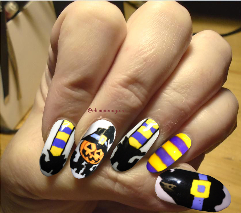 halloween witch nails nail art by Rhianne Nagels