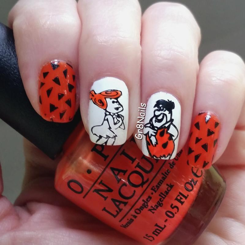 Meet the Flintstones nail art by Gr8Nails