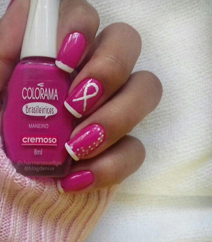Nail Outubro Rosa / October Rose nail art by Denise Barbosa