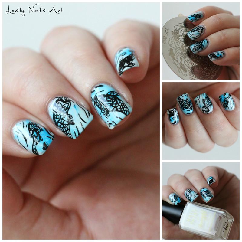Nail art stamping fish  nail art by Lovely Nail's  Art