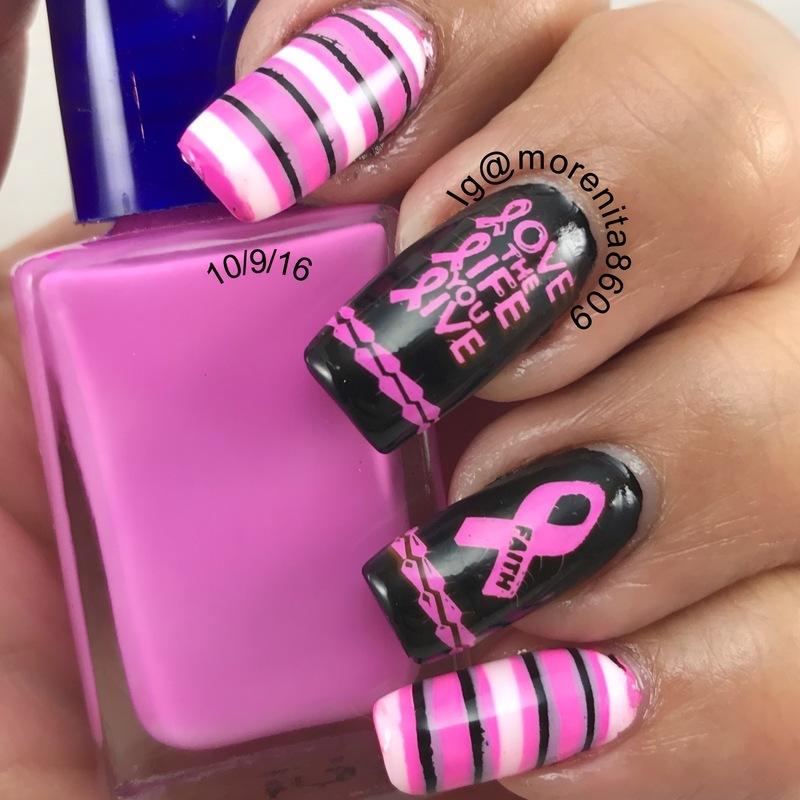 Cancer Awareness Nails nail art by Morenita  Morena