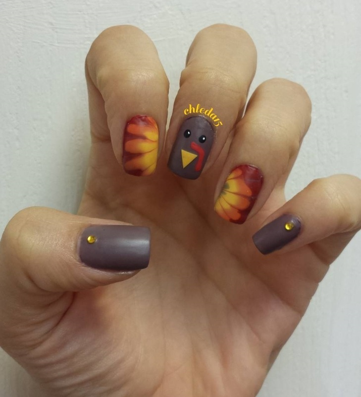 Gobble! Gobble! nail art by chleda15