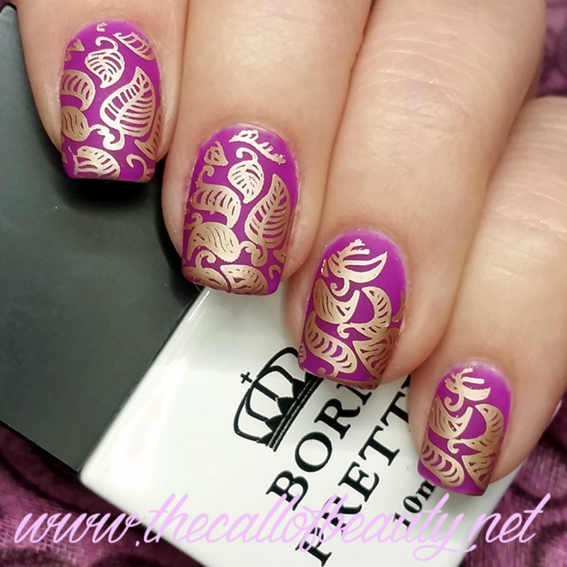 Purple Leaves nail art by The Call of Beauty
