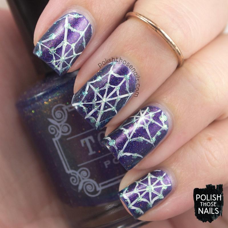 Spiderwebs Sparkle Elixir nail art by Marisa  Cavanaugh