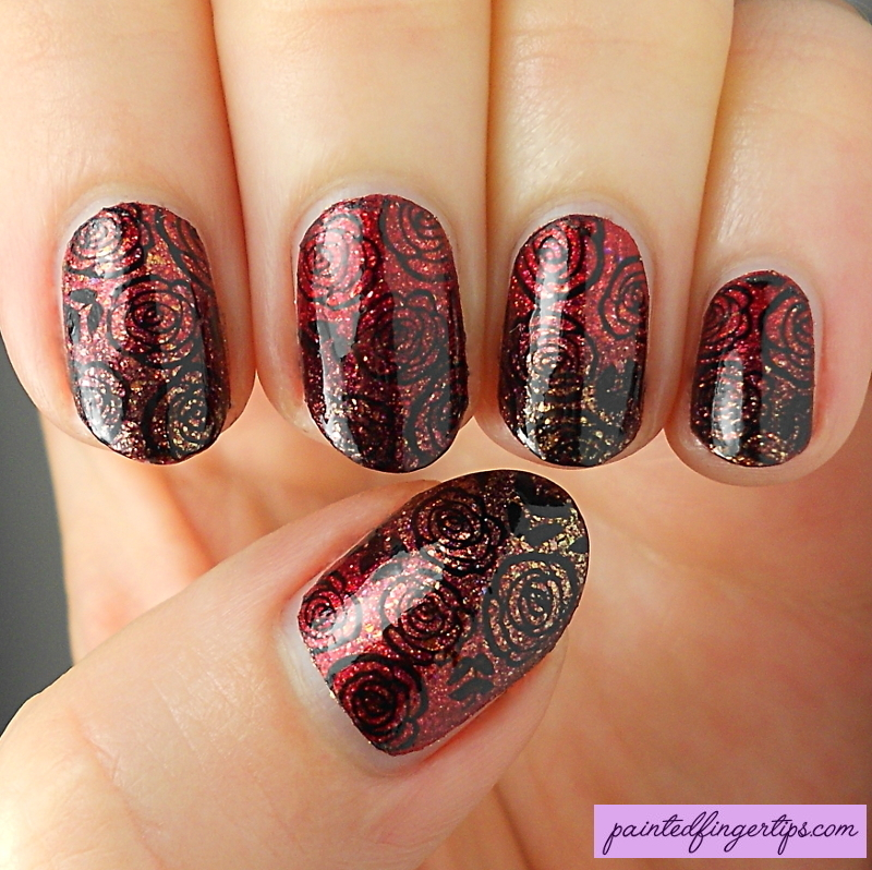 Vampy gradient and roses nail art by Kerry_Fingertips