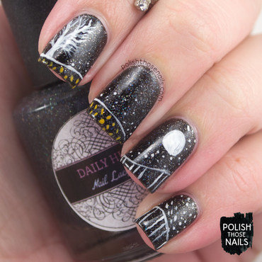 Black sparkle moon landscape nail art 4 thumb370f