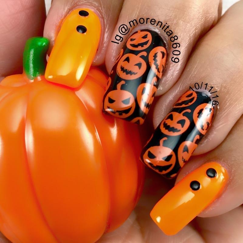 Pumpkins  nail art by Morenita  Morena