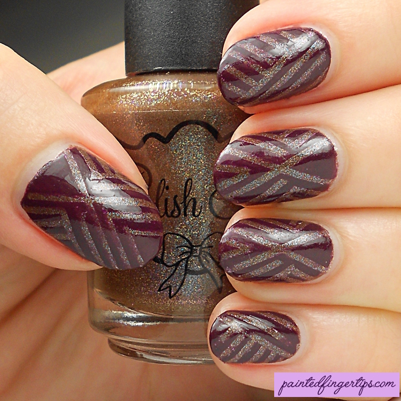 Vampy look with striping tape nail art by Kerry_Fingertips