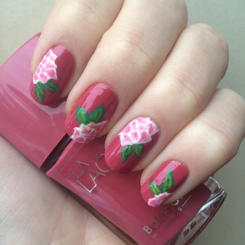 Pink Roses nail art by skier2201