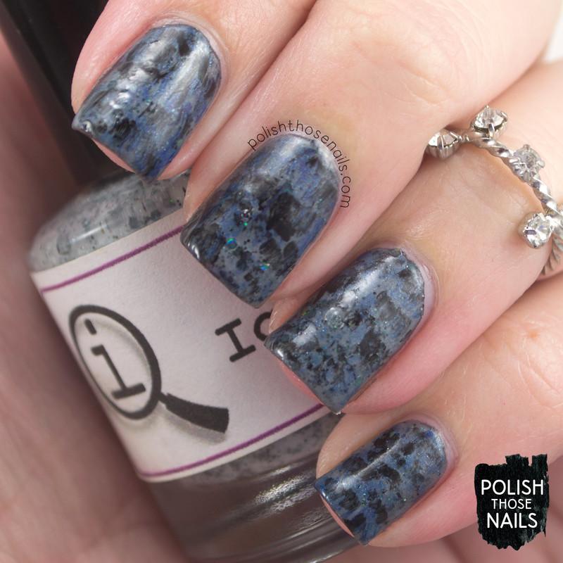 Distressed Vampy Blues nail art by Marisa  Cavanaugh