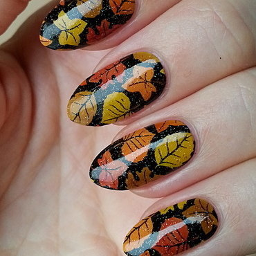 Lovely Leaves nail art by Mgielka M