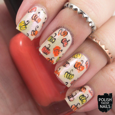 Watercolor squiggle pumpkins halloween nail art 4 thumb370f