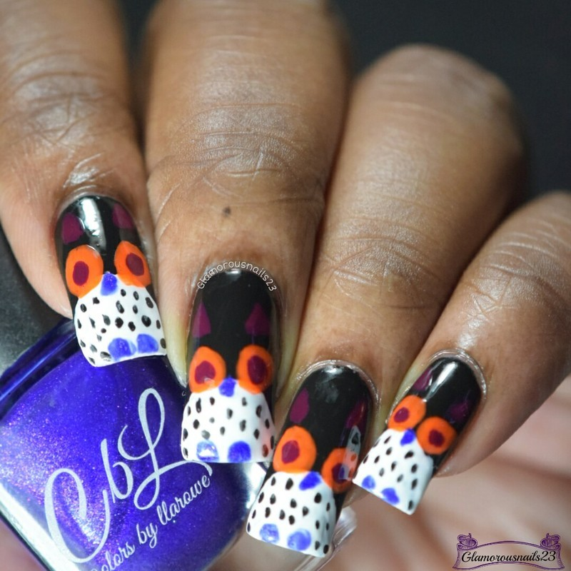 Challenge Your Nail Art Day 3 - Owls  nail art by glamorousnails23