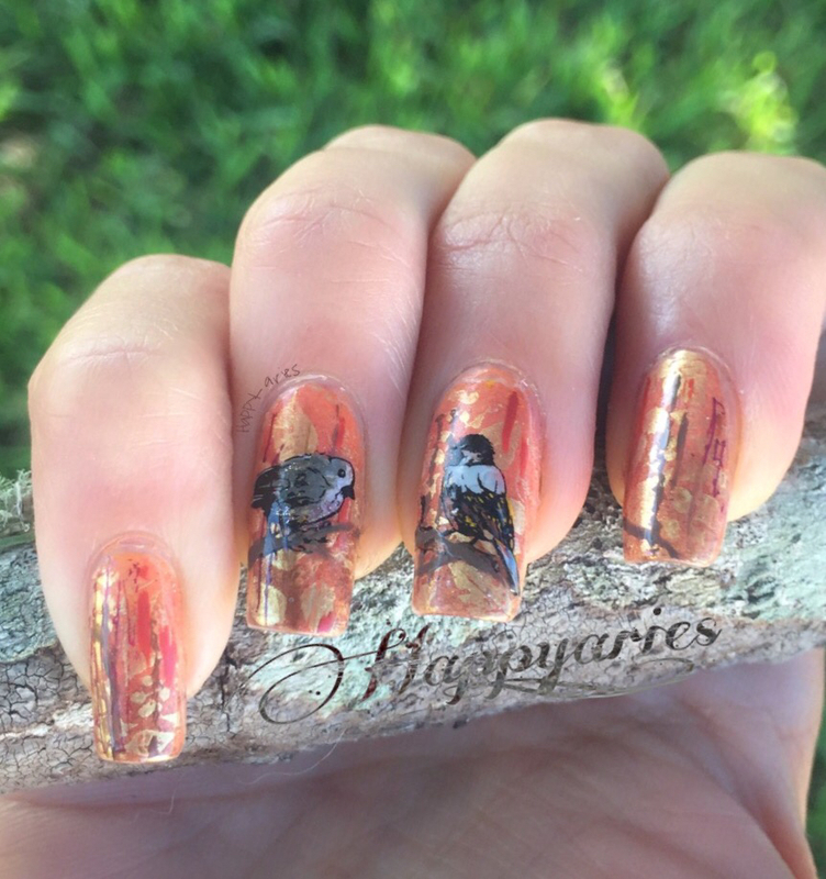 Birds in the Fall singing lovely song  nail art by Happy_aries