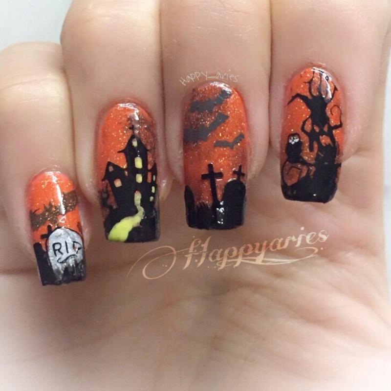 Graveyard spooky mani  nail art by Happy_aries