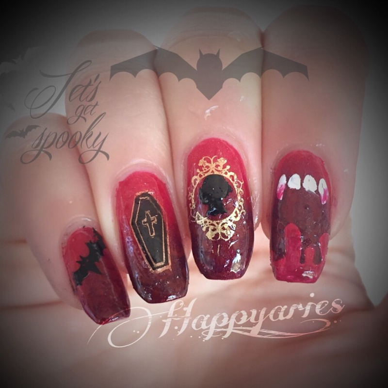 Vampire nail art  nail art by Happy_aries