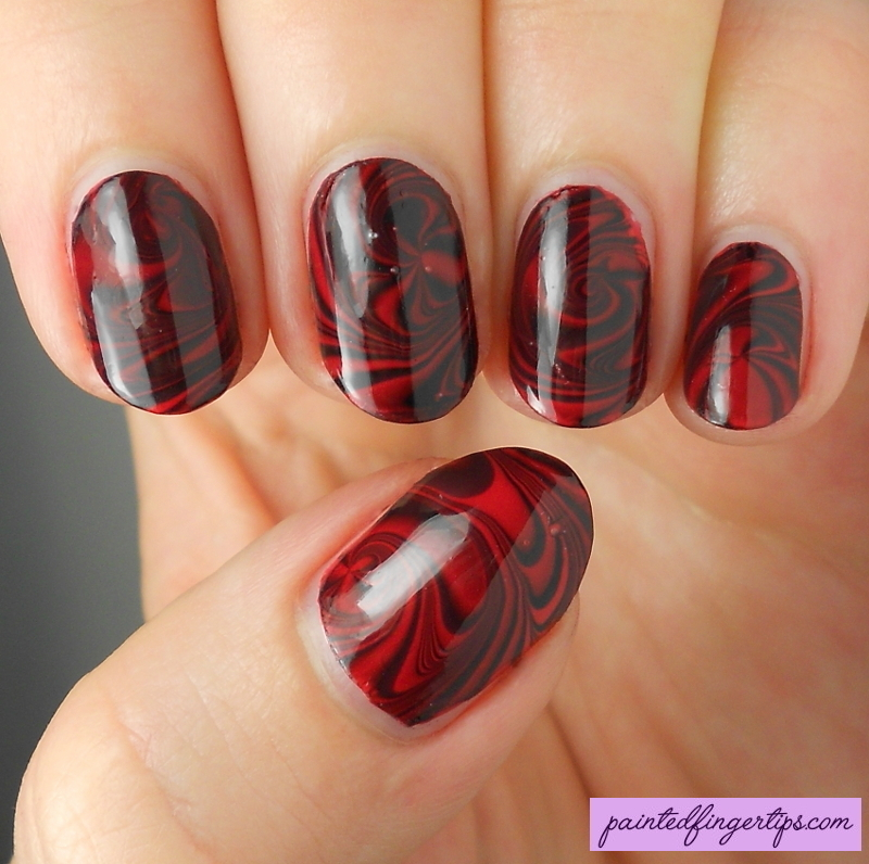 Red & Black water marble nail art by Kerry_Fingertips