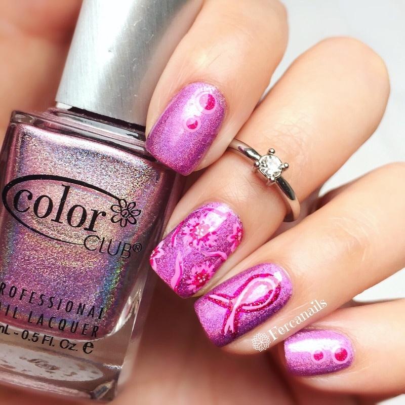 Holo Pink Ribbon nail art by Fercanails