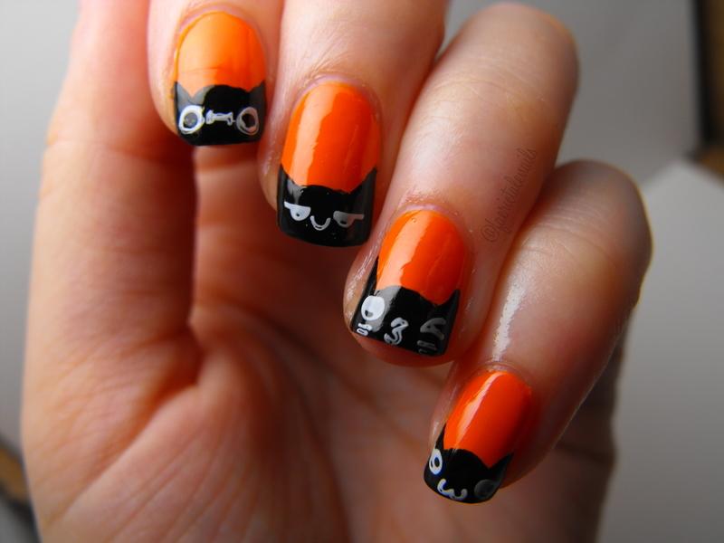 Black Cat French Tips nail art by faerietalenails