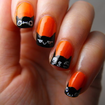 Black Cat French Tips nail art by faerietalenails