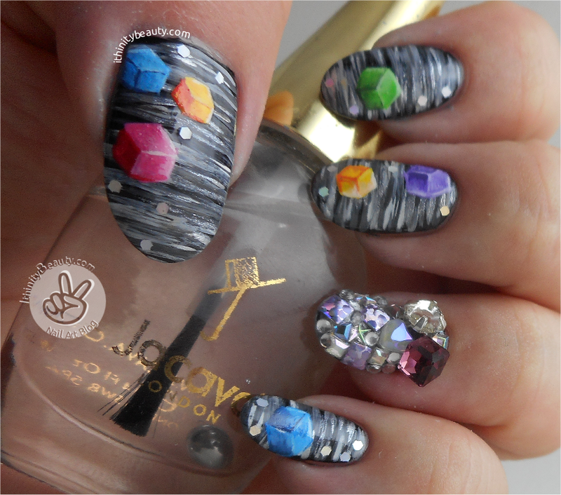 2D & 3D Cubed Nails nail art by Ithfifi Williams