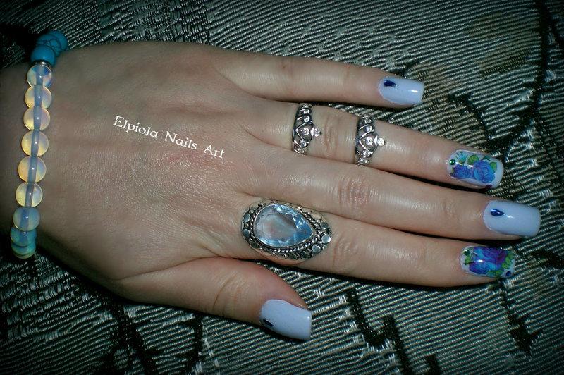 Roses Are Indigo Blue  nail art by Elpiola Lluka